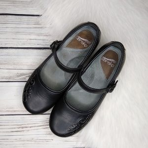 DANSKO BLACK EMBROIDERED MARY JANE CLOGS 38